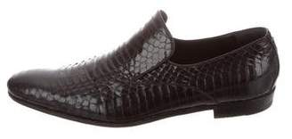 Gucci Semi Pointed-Toe Snakeskin Loafers
