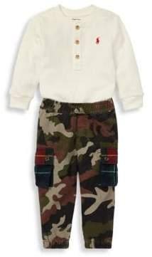 Ralph Lauren Boy's Two-Piece Waffle-Knit Henley& Camouflage Cotton Pants Set