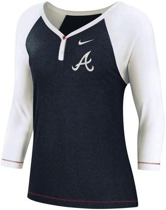 Nike Women's Navy Atlanta Braves Henley 3/4-Sleeve Raglan V-Neck T-Shirt