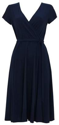 Wallis Navy Midi Wrap Dress