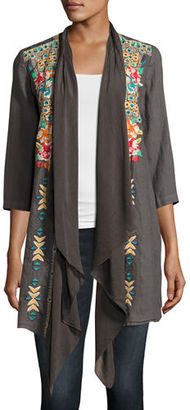 Johnny Was Sita Linen Embroidered Jacket, Plus Size $310 thestylecure.com