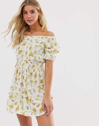 Miss Selfridge bardot mini dress with shirred waist in floral print
