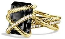 David Yurman Cable Wrap Ring With Black Onyx And Diamonds In 18K Gold