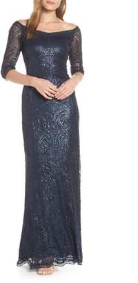 Tadashi Shoji Sequin Off the Shoulder Evening Dress