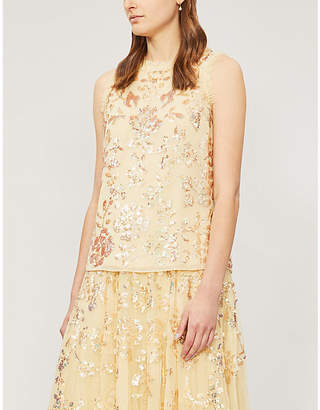NEEDLE AND THREAD Valentina sequin-embellished tulle top