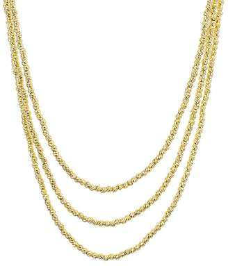 """Aqua Sterling Layered Sparkle Necklace, 19"""""""