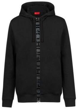 HUGO Boss French-terry hooded sweatshirt logo-tape zipper S Black