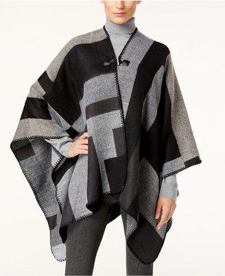 Calvin Klein Colorblocked Poncho $78 thestylecure.com