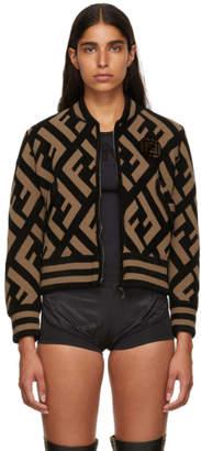 Fendi Reversible Brown and Black Forever Bomber Jacket