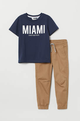 H&M T-shirt and Joggers