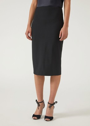 Emporio Armani Pencil Skirt In Virgin Wool With Slit