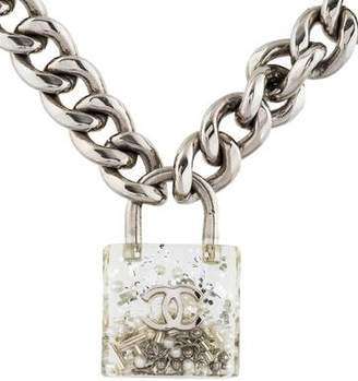 Chanel CC Resin Padlock Pendant Necklace