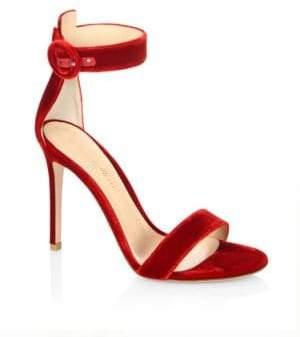 Gianvito Rossi Portofino Velvet Ankle-Strap Sandals