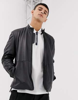 Emporio Armani leather biker jacket in black
