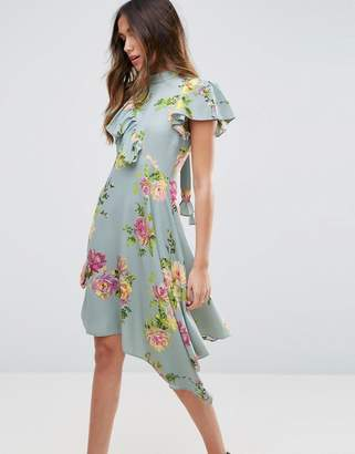 ASOS Asymmetric Tea Dress in Floral Print $67 thestylecure.com
