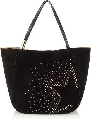 Jimmy Choo STEVIE TOTE Black Suede Tote Bag with Studded Degrade Star and Elaphe