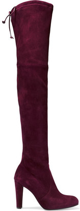 Stuart Weitzman - Highland Stretch-suede Over-the-knee Boots - Burgundy $800 thestylecure.com