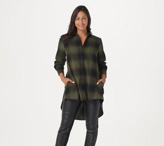 Lisa Rinna Collection Plaid Button Front Hi-Low Hem Top