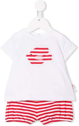 Il Gufo stripey fish top and shorts set