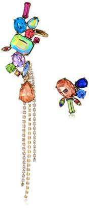 Betsey Johnson Womens Blooming Betsey Bright Color Stone Mismatch Earrings