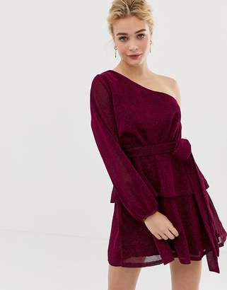 Talulah Willa Glitter Asymmetric Sleeve Dress