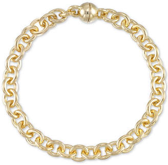 Signature Gold Diamond Accent Rolo Link Bracelet in 14k Gold Over Resin