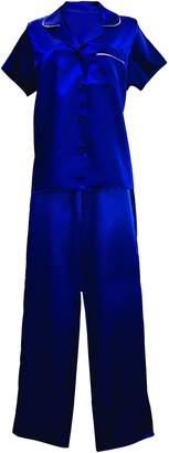 Sock Snob Womens Short Sleeve Polyester Satin Shirt Top and Bottoms Pants Pyjama Set