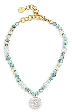 Nest Women's Beaded Larimar, White Baroque Mother-Of-Pearl & 22K Goldplated Choker Necklace