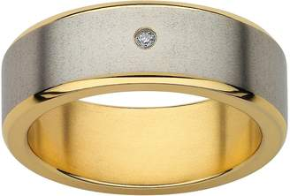 Diamond Accent Titanium & Yellow Ion-Plated Titanium Wedding Band - Men