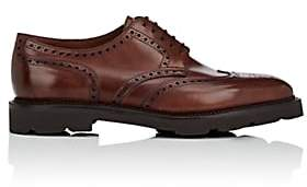 John Lobb Men's Hayle Leather Wingtip Bluchers-Brown