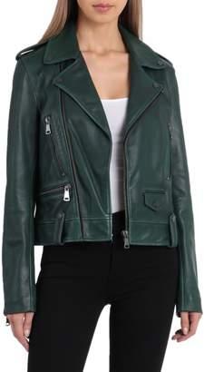 Bagatelle NYC Cropped Lamb Leather Trucker Jacket
