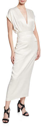 Derek Lam V-Neck Short-Sleeve Dress with Tapered Skirt