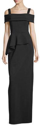 Rickie Freeman for Teri Jon Cold-Shoulder Peplum Column Gown, Black $780 thestylecure.com