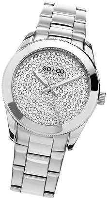 Co SO & Ny Women'S Madison Stainless Steel Bracelet Silver Tone Crystal Filled Dial Dress Quartz Watch J155P47