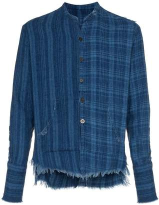 Greg Lauren checked and pouch detail cotton shirt
