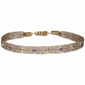 LeJu London - Handwoven Bracelet In Gold And Amethyst Stones