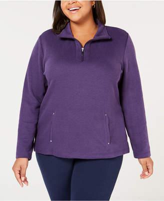Karen Scott Plus Size Half-Zip Sweatshirt