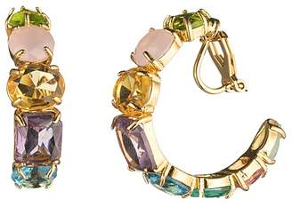 Carolee Multi-Stone Clip-On Hoop Earrings