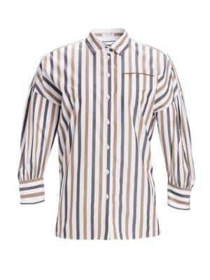 Brunello Cucinelli Striped Cotton Poplin Blouse