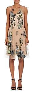 Alberta Ferretti Women's Jungle-Pattern Embellished Tulle Dress - Nudeflesh
