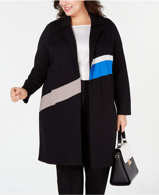 Alfani Plus Size Colorblocked Trench Sweater Coat