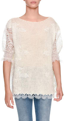 Ermanno Scervino Half-Sleeve Light-Cashmere Sweater with Lace