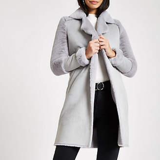 River Island Grey faux fur lined coat