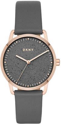 DKNY Women Greenpoint Gray Leather Strap Watch 36mm