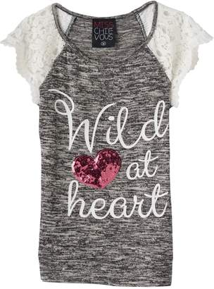 "Miss Chievous Girls 7-16 Wild at Heart"" Sequin Heart Crochet Lace Sleeve Knit Top"