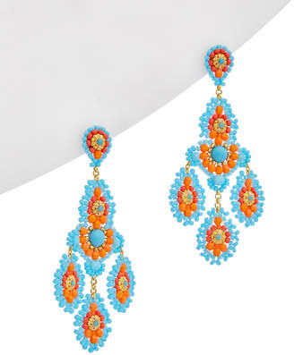 Miguel Ases 18K Plated Turquoise Beaded Drop Earrings