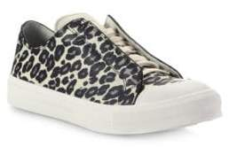 Alexander McQueen Leopard Printed Leather Low-Top Sneakers