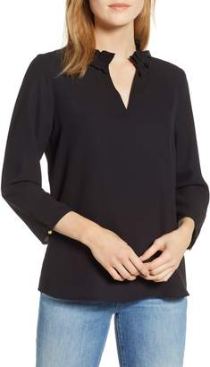 Ming Wang Ruffle Split Neck Blouse