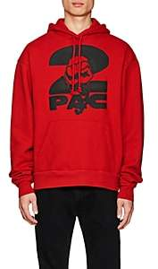 Tupac by 424 Men's Fist-Print Cotton Terry Oversized Hoodie-Red