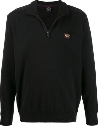 Paul & Shark logo patch zip-up jumper